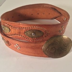 Chicos leather brass grommet concho belt